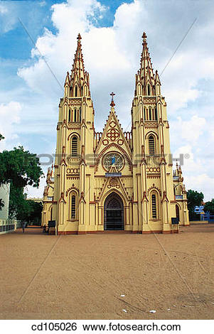 Stock Images of St. Mary's Church. Madurai. Tamil Nadu, India.