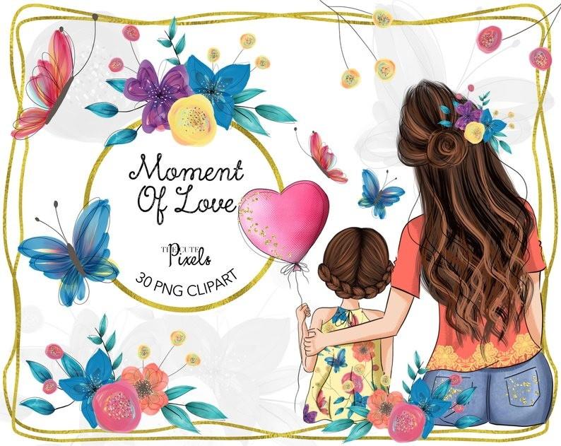 Mãe e filha aquarela png cliparts p/ scrapbook digital.