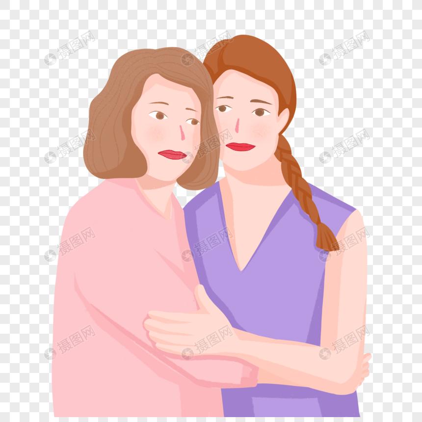 mão desenhada mãe e filha abraçam a imagem do personagem.