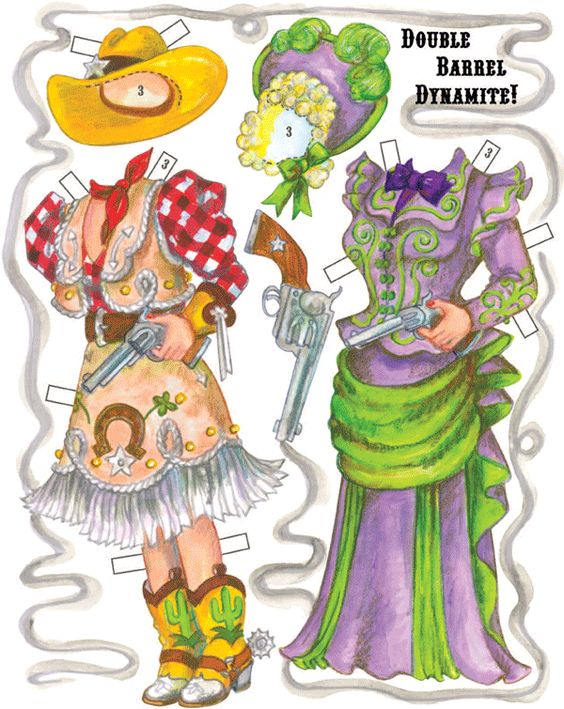 Double Barrel Dynamite costumes for Mae West paper dolls. By David.