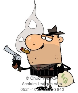 Clipart Illustration of A Mafia Man Smoking a Cigar and Holding a.
