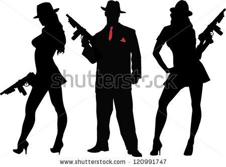 Mafia Gangster Woman Clipart.