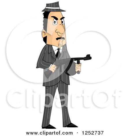 Clipart of a Mafia Mobster Man Holding a Machine Gun.