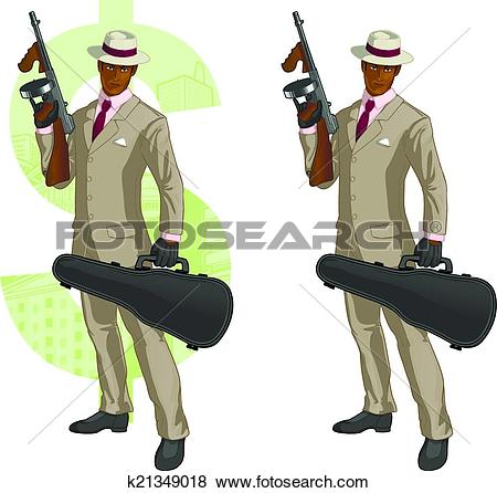Clip Art of Cartoon afroamerican mafioso with Tommy.