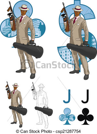 Clipart Vector of Jack of clubs afroamerican mafioso with Tommy.