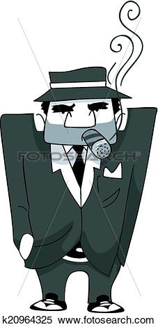 Clipart of Mafia Man Cigar k20964325.