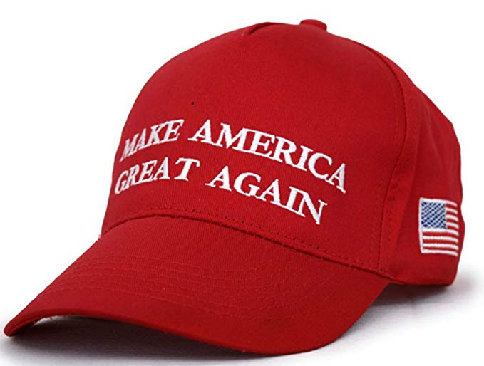 Besti Make America Great Again Donald Trump Slogan with USA Flag Cap  Adjustable Baseball Hat Red.
