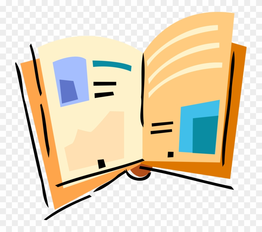 Vector Illustration Of Open Book Or Magazine Reading.