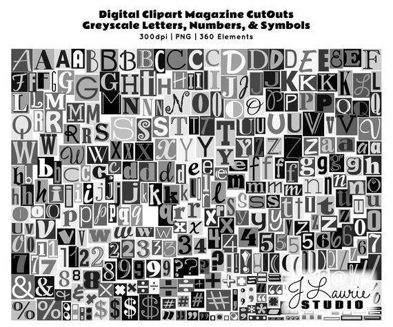 Digital Magazine Cutout Alphabet.