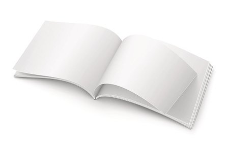 Blank open magazine template. Wide format Clipart Image.