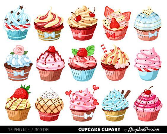Cupcakes imágenes prediseñadas Magdalena digital clip arte cupcake.