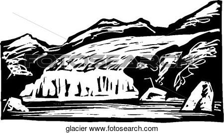 Glacier clipart black and white.