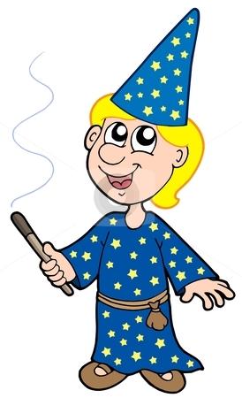 Small magician stock vector.