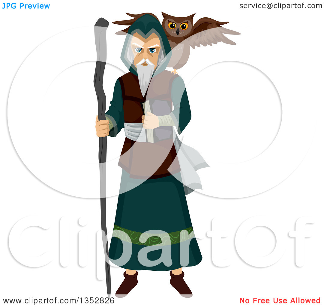 Clipart of a Mage with an Owl Familiar Spirit.