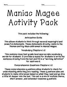 Maniac Magee Timeline.