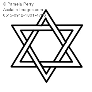 Clip Art Illustration of a Black and White Star of David.