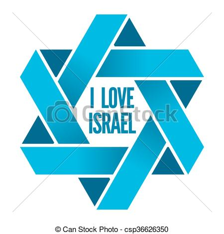 Clipart Vector of Israel or Judaism logo with Magen David sign.