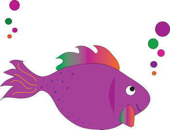 Clip Art Picture of a Magenta Rainbow Tropical Fish.