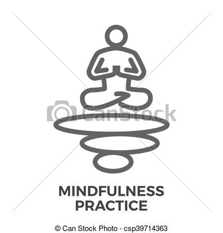 Clip Art Vector van mindfulness, praktijk, Vector, mager, lijn.