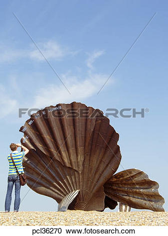 Stock Photography of The Scallop Sculpture On Aldeburgh Beach By.