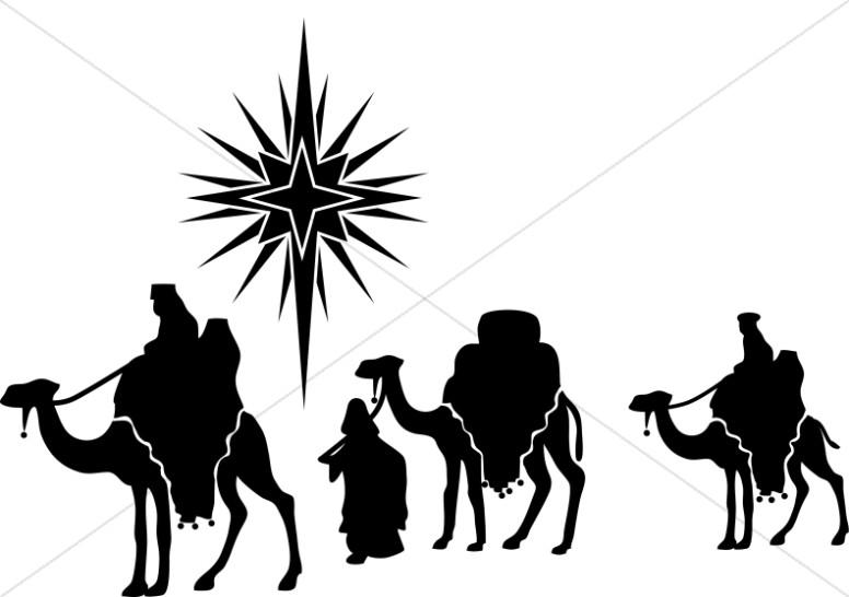 Nativity Star and Magi Silhouette.