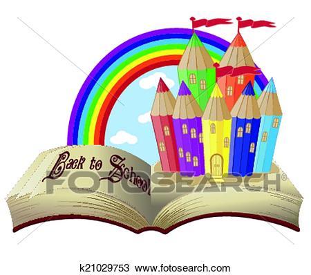 Back to School Magic book castle Clipart.