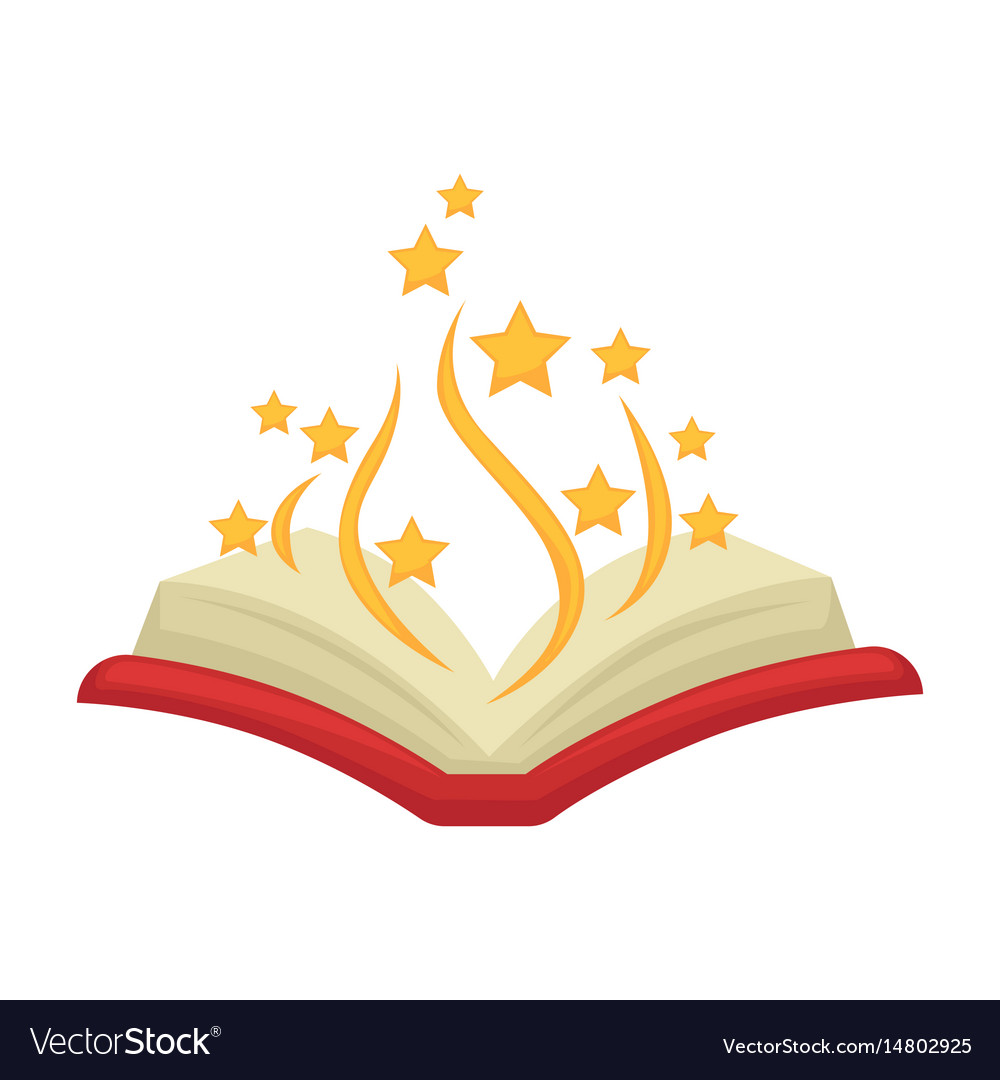 Bewitched open colorful magic book isolated on.