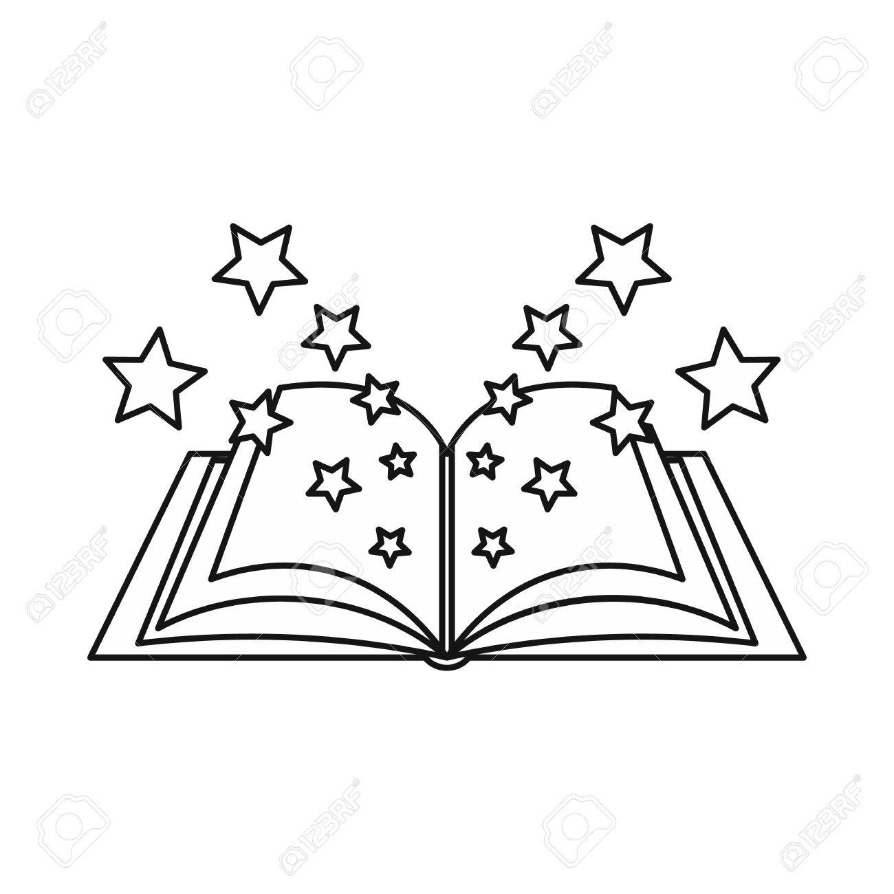 Magic book icon in outline style isolated on white background.
