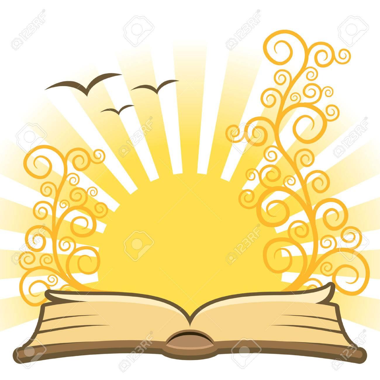 Magic book with sun, vector.