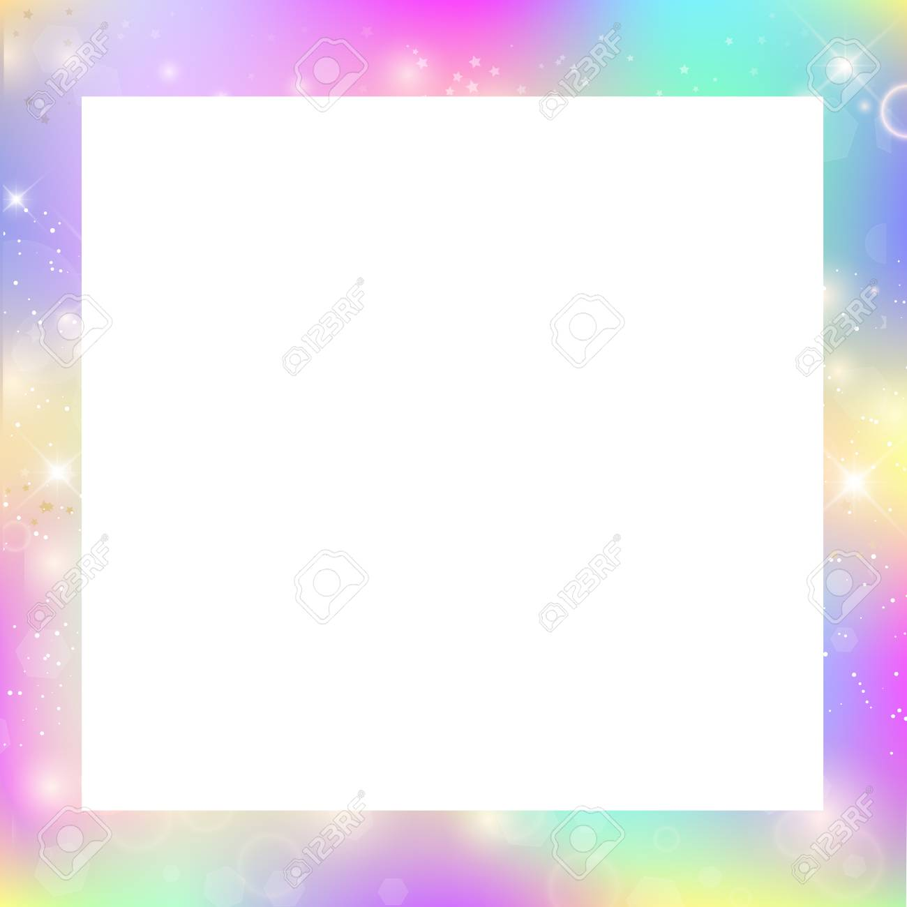 Magic border with rainbow mesh and space for text, cute universe...
