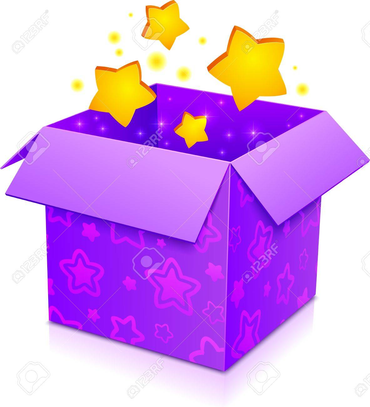 Violet magic box with yellow stars and magenta pattern.