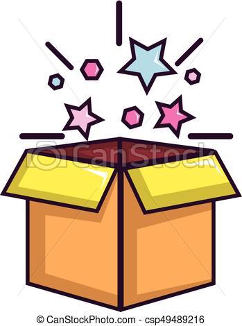 Magic box with stars icon, cartoon style.
