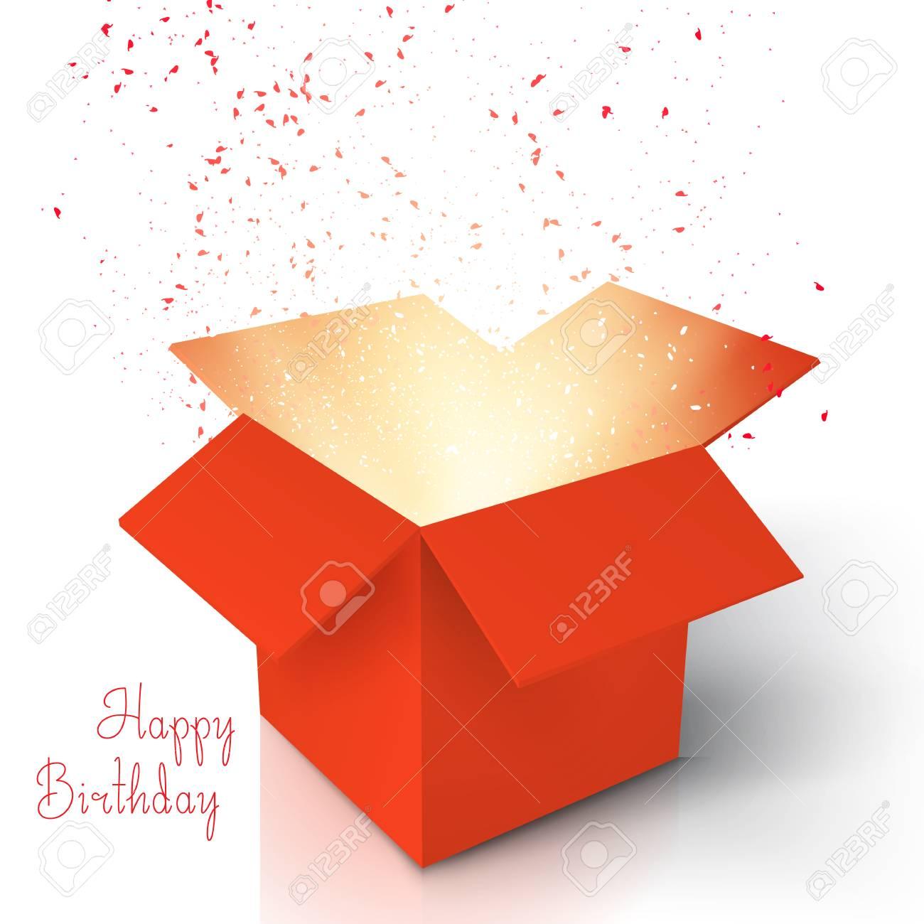 Illustration of Happy Birthday Realistic Magic Open Box. Magic...