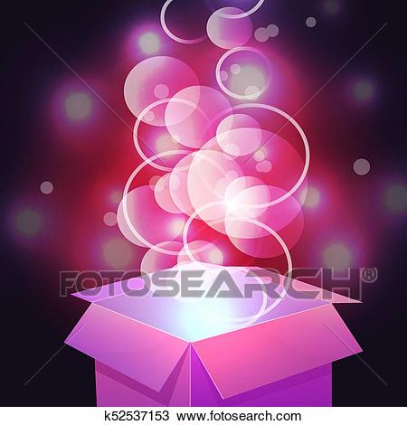 VECTOR. Glowing magic box. Close up. Magenta Clipart.