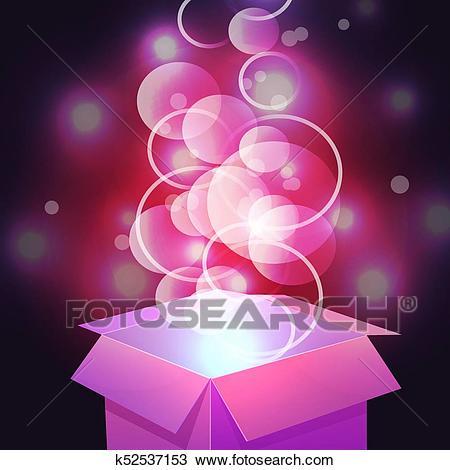 VECTOR. Glowing magic box. Close up. Magenta Clipart.