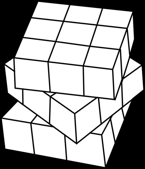 Rubiks Cube Line Art.
