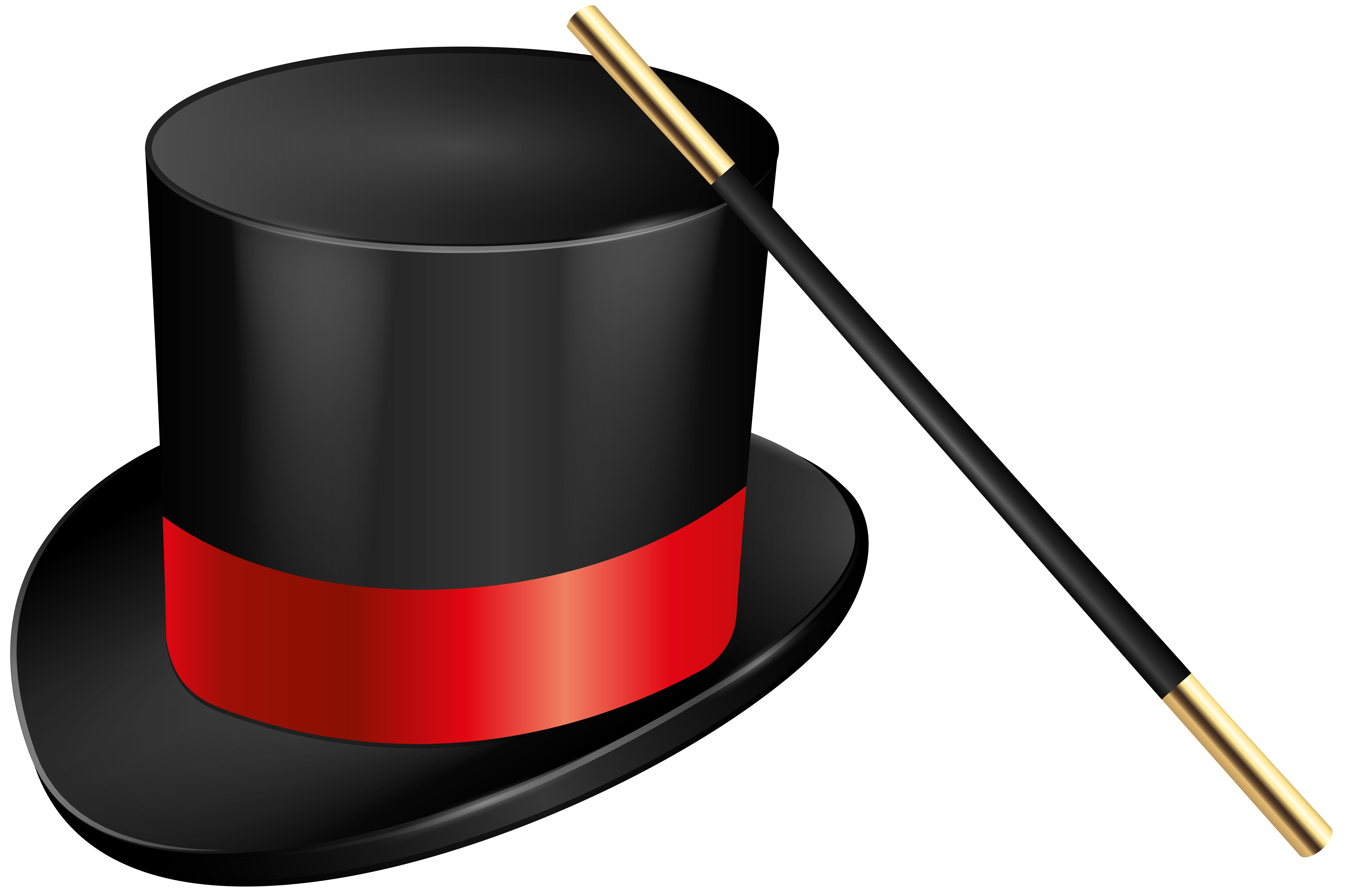 Magic Hat and Magic Wand PNG Clip Art Image.