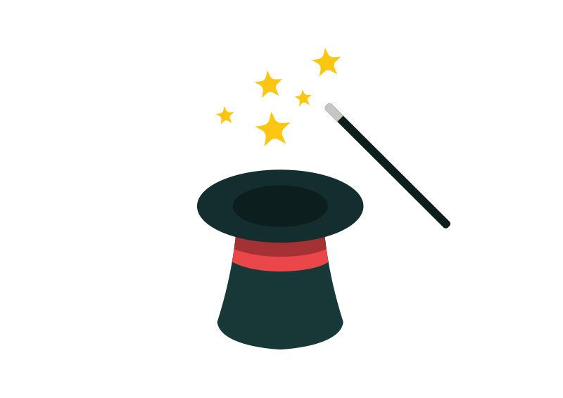 Magic Hat and Wand Flat Vector Icon.