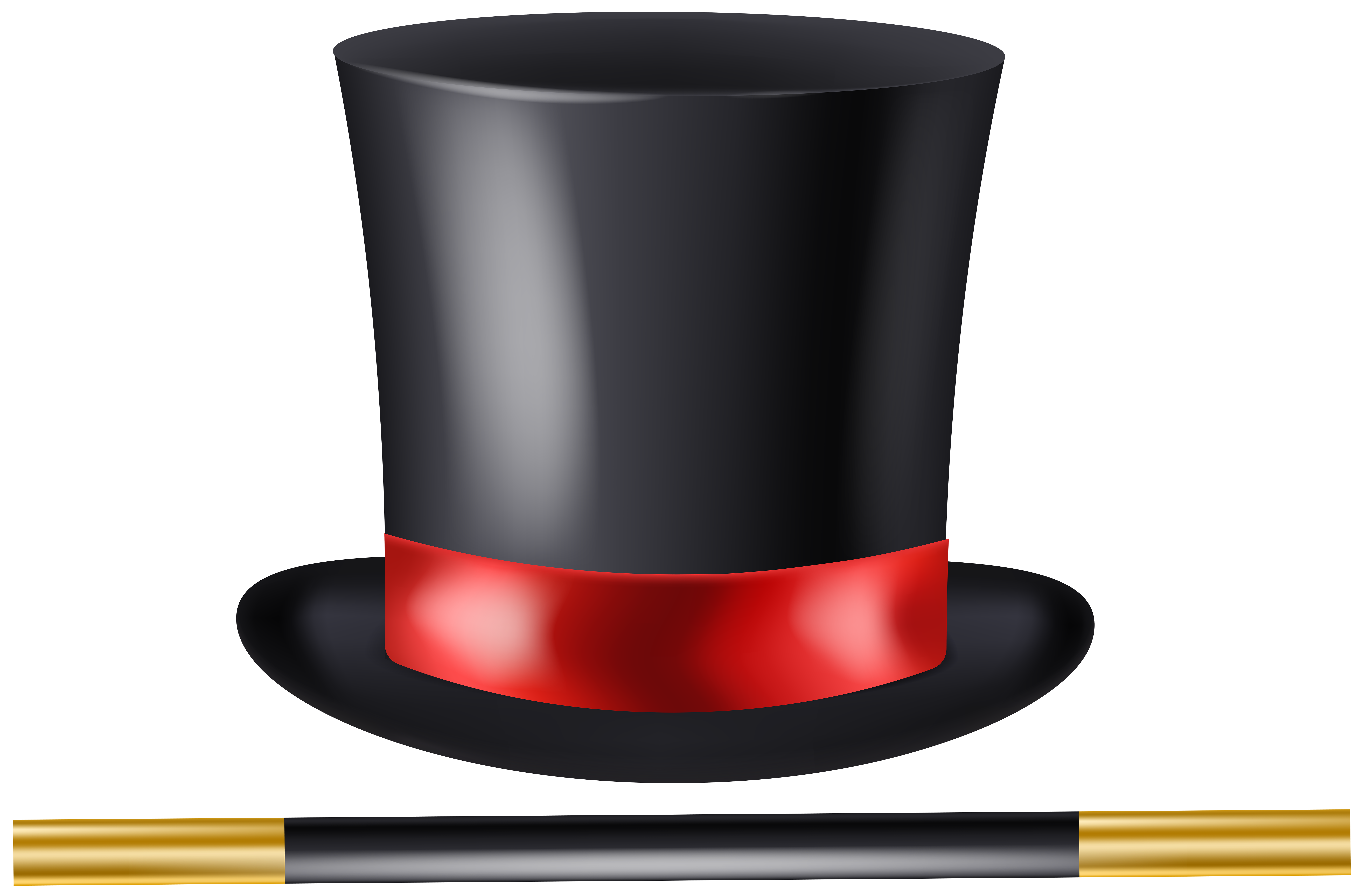 Magician Hat and Wand Transparent Clip Art.