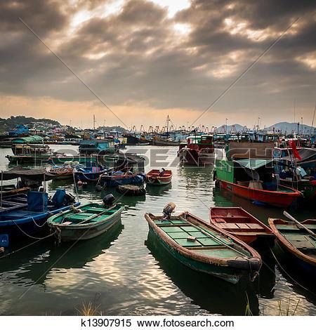 Stock Image of Fishing Village under Magic Hour, Cheung Chau, Hong.