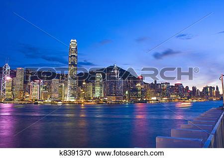 Stock Photography of Magic hour of Kowloon Peninsula in Hong Kong.