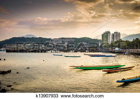 Stock Photo of Hong Kong Sai Kung Public Harbour Magic Hour.