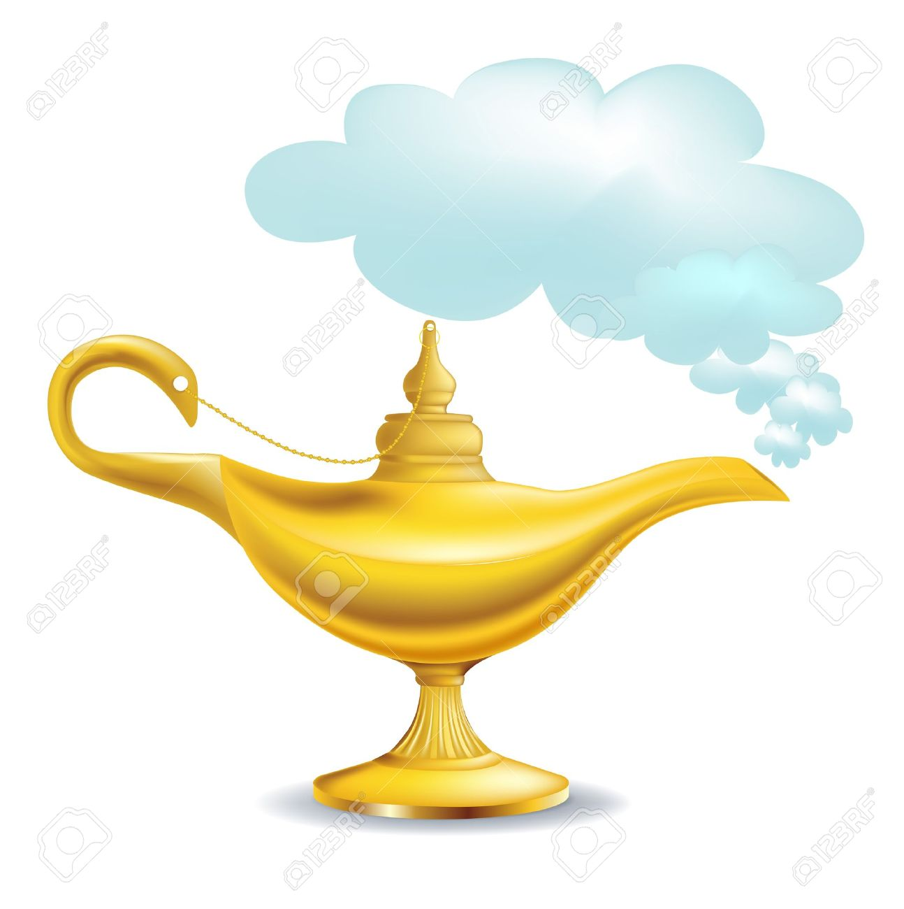 golden magic lamp with cloud isolated.