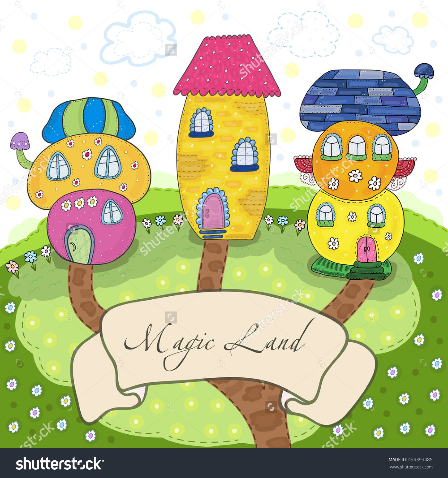 Fairytale Colorful Cute Houses Cartoon Style Stock Vector.