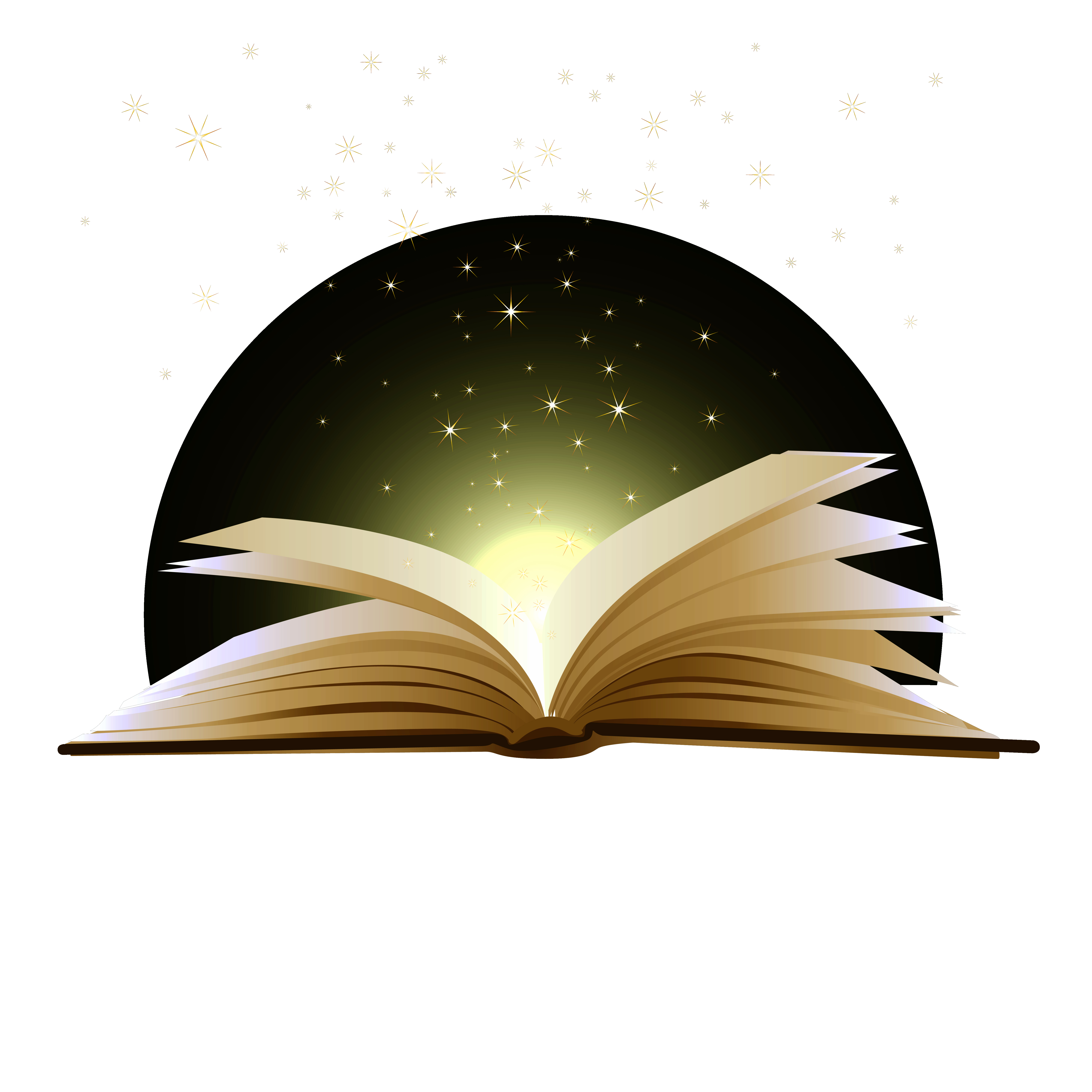 Open book with magic clipart.