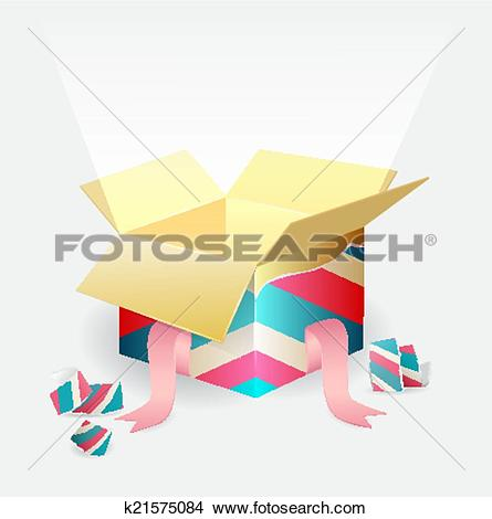 Clipart of Open magic box with a beam of light k21575084.