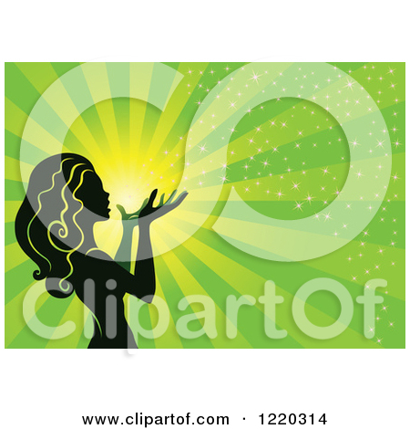 Clipart of a Silhouetted Fairy with Magical Light and Rays on.