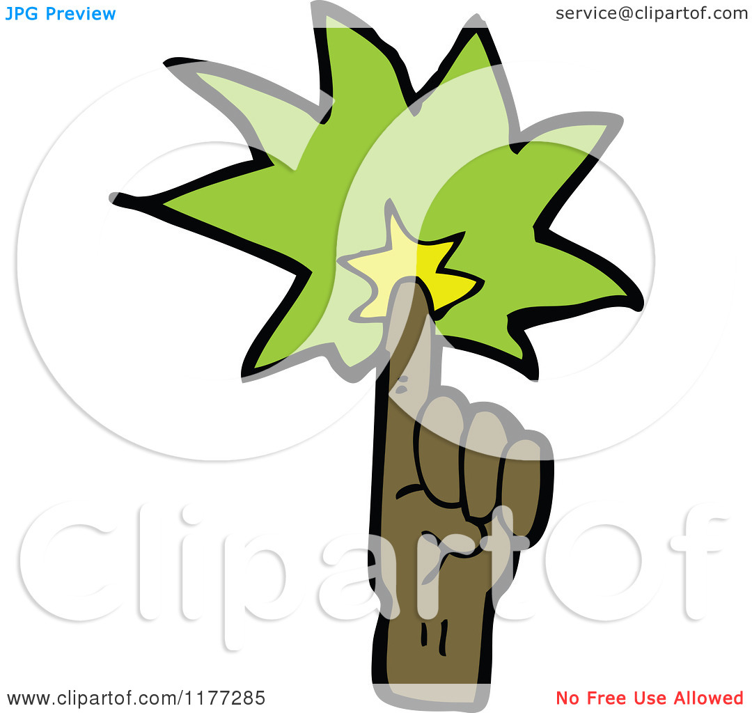 Cartoon Of A Black Hand With Green Magic Light.