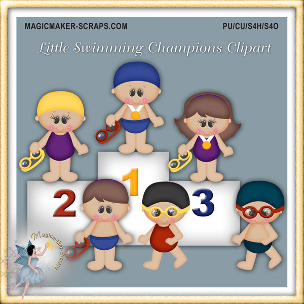 Little Swimming Champions Clipart.