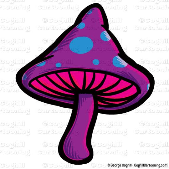 Cartoon Magic Mushroom Clip Art Stock Illustration.